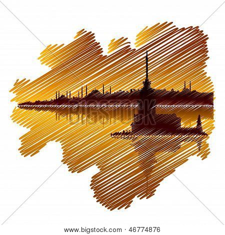 Istanbul drawing at sunset