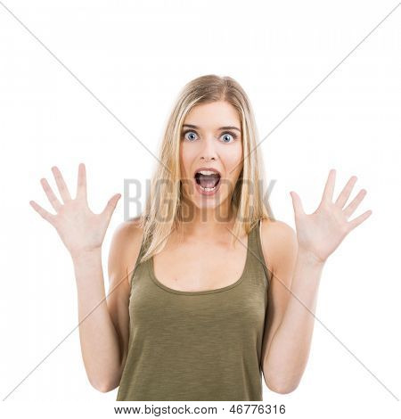 Beautiful blonde woman astonished with something with hands on the air, isolated over white background