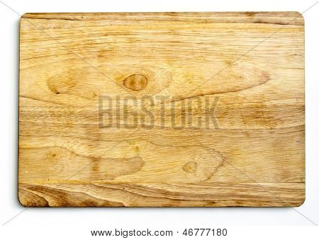 A wooden cutting board isolated on white