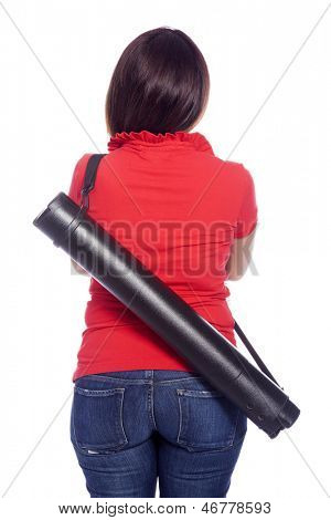 Female student with a telescopic tube from back - isolated over a white background