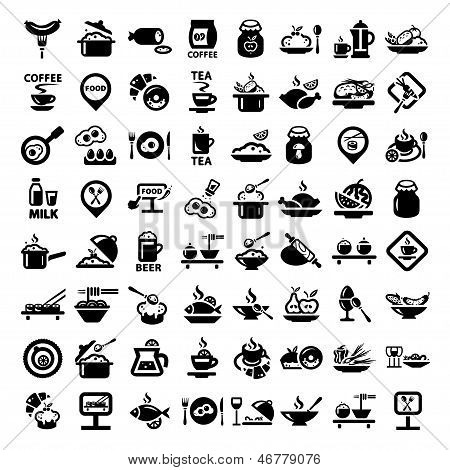 big food icon set