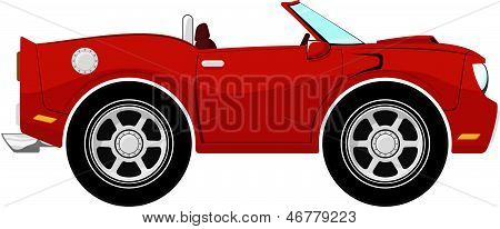 funny red convertible car