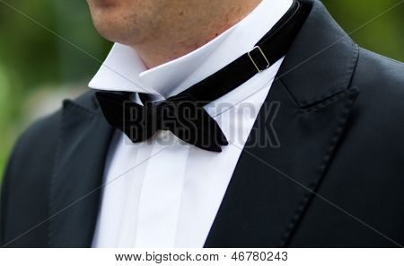 Black bow tie close up