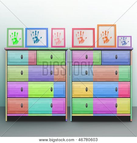 Colored photo frame on the bright chest