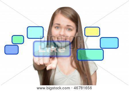 Girl Presses A Virtual Button Like