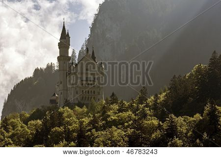 Neuschwanstein In The Shadow Of The Great Mountain