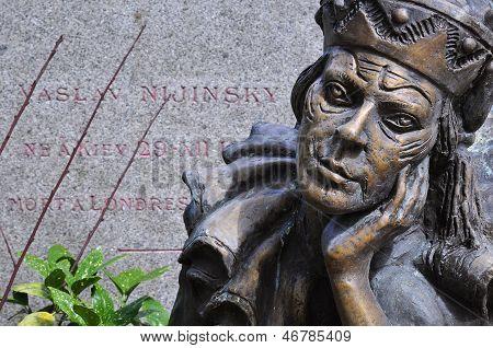 Gravestone And Statue Of The Famous Russian Ballet Dancer Vaslav Nijinsky, Montmartre Cemetery, Pari