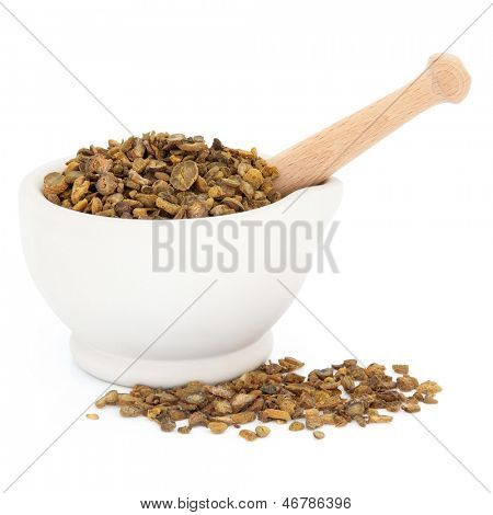 Chinese herbal medicine with corydalis tuber in a stone mortar with pestle over white background.