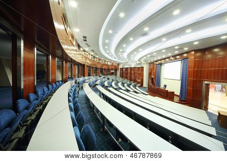 MOSCOW - AUGUST 18: Empty university auditorium in MGIMO, on August 18, 2012 in Moscow, Russia. Among MGIMO graduates more than five thousand foreign citizens from more than 60 countries.