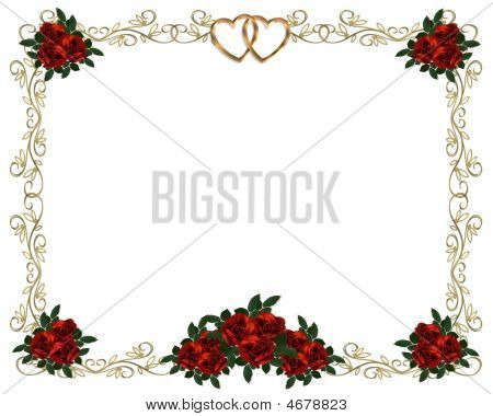Red Roses Gold Filigree Frame Invitation