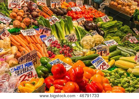 Display Variety Vegetables In Market