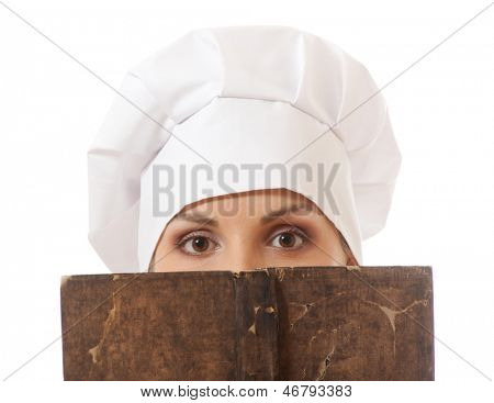woman cook reading recipes book, isolated on white