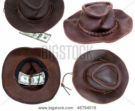Cowboy Hat With Lucky Bill Isolated On White