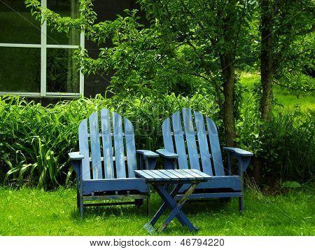 Pair of Blue Adirondack Chairs