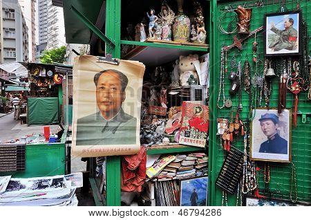 Chairman Mao portrait at Cat Street antiques market, Hong Kong
