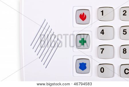 Closeup of home security alarm keypad