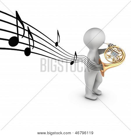 3D french horn player (corniste)