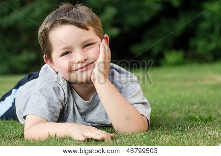 Summer portrait of young child outdoors