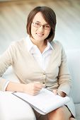 stock photo of psychologist  - Vertical portrait of a successful psychologist or a businesswoman - JPG