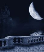stock photo of balustrade  - Fantasy background with a dark night - JPG