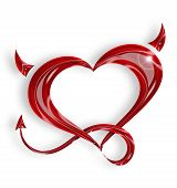 foto of pornography  - red heart with tail and horns on white background - JPG