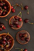 image of tarts  - chocolate tart with cherry - JPG