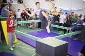 MOSCOW - NOV 17: A man in a jump on the 5th parkour contest to move at the University of Physical Ed