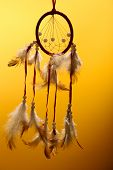 image of dream-catcher  - Beautiful dream catcher on yellow background - JPG