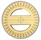 pic of protractor  - yellow transparent protractor on a white background - JPG