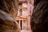stock photo of petra jordan  - The Treasury monument in the old Nabataean city Petra Jordan - JPG