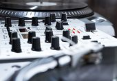 stock photo of disc jockey  - Professional sound equipment for a disc jockey - JPG