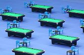 MOSCOW - OCTOBER 30: Billiard tables with green cloth at VII International Billiards Tournament Krem