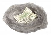 Money in a garbage bag
