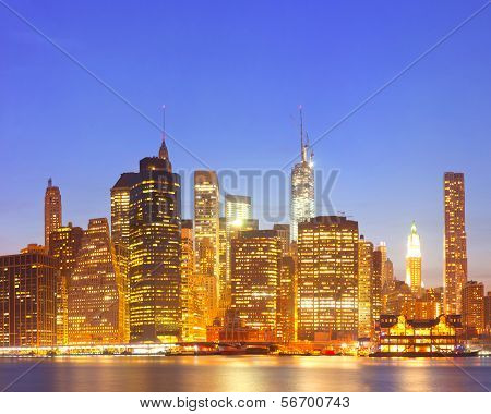 New York City USA lights on the buildings in lower Manhattan