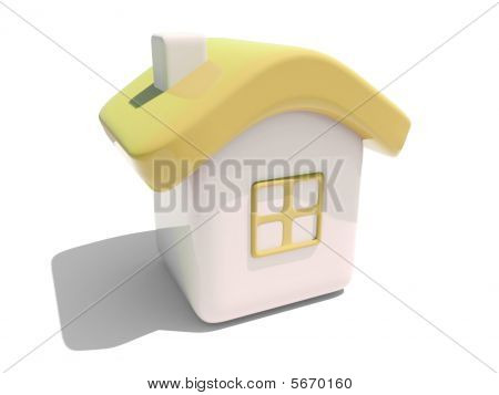 Simple 3D Yellow House