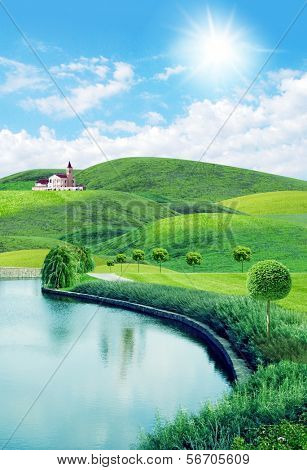 summery landscape  with the  hills