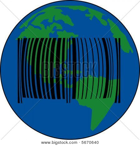 Earth With Barcode.