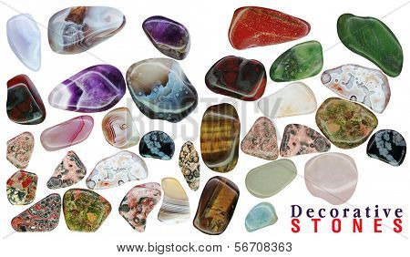 semi-precious stones isolated on a white background