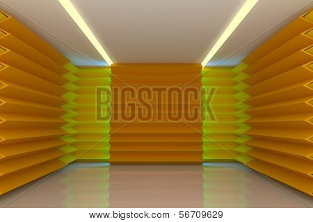 Abstract Yellow Wall In Empty Room