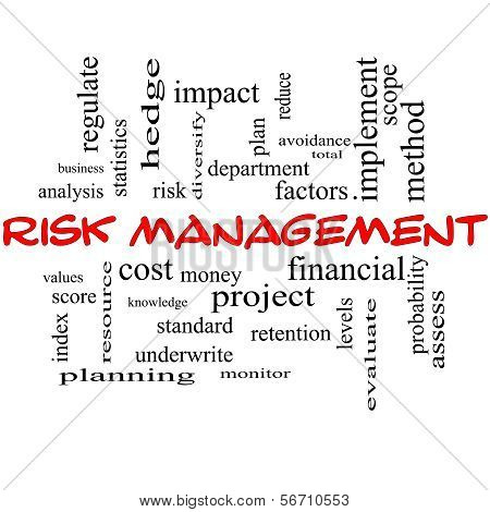 Risk Management Word Cloud Concept In Red Caps