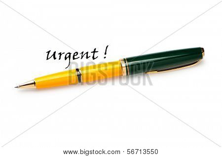 Pen and urgent message isolated on white