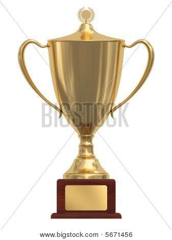 Gold Trophy Cup On Wood Pedestal