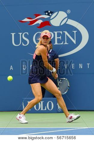 Professional tennis player Agnieszka Radwanska during first round match at US Open 2013