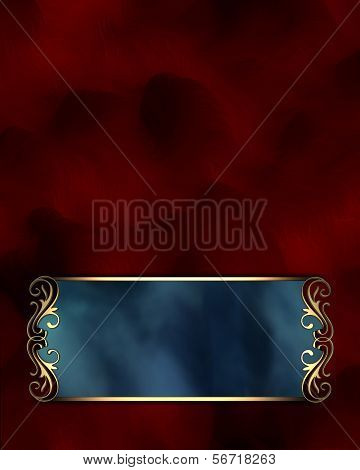 Gold pattern on a blue nameplate on a red background