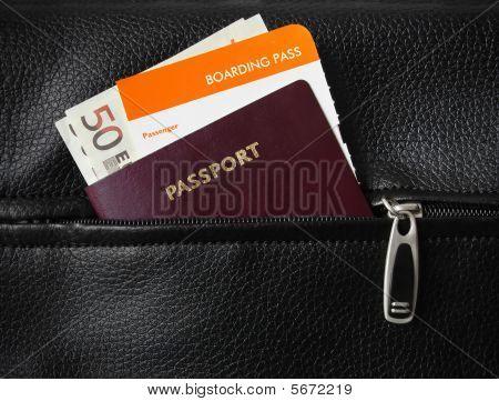 Boarding pass, passport and money