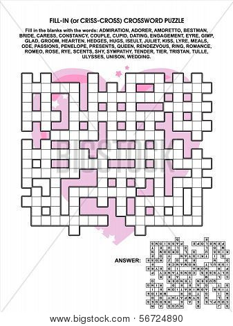 Valentine's Day, love or wedding criss-cross word game