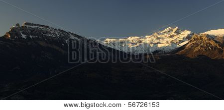 overview of the massif of Monte Perdido in the evening, Pyrenees