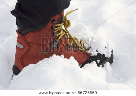 red leather boot with laces yellow mountain