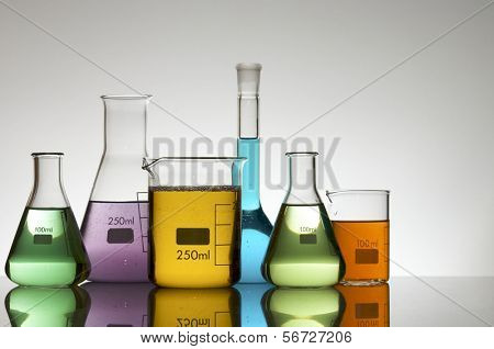 laboratory equipment with liquid color
