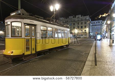 tram in the historic center of Lisbon, Portugal